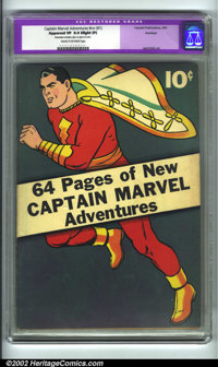 Captain Marvel Adventures #nn (#1) Hawkeye pedigree (Fawcett, 1941). CGC Apparent VF 8.0 Cream to off-white pages. Sligh...