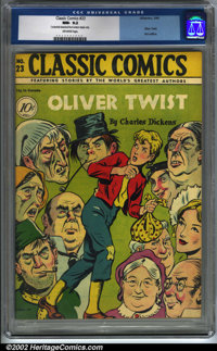 Classic Comics #23 Oliver Twist (Gilberton, 1945). CGC NM- 9.2 Off-white pages. Centerfold detached from bottom staple o...