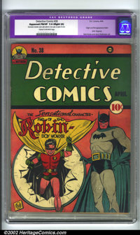 Detective Comics #38 (DC, 1940). CGC Apparent FN/VF 7.0 Cream to off-white pages. Slight amateur restoration includes: s...