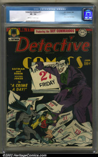 Detective Comics #71 (DC, 1943). CGC VF- 7.5 Off-white to white pages. Classic Joker cover and story. Overstreet 2001 FN...