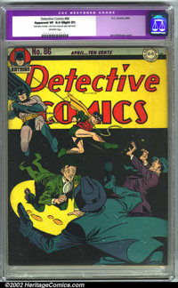 Detective Comics #86 (DC, 1944). CGC Apparent VF 8.0 Slight (P) Off-white pages. Restoration includes: color touch, tear...