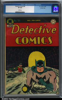 Detective Comics #94 Crowley pedigree (DC, 1944). CGC VF 8.0 White pages. Crowley copy. Classic cover. Overstreet 2001 F...