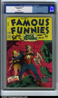 Famous Funnies #211 (Eastern Color, 1954). CGC VF/NM 9.0 Off-white pages. Frank Frazetta cover. Overstreet 2001 NM 9.4 v...