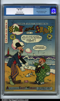 """Fat and Slat #1 (EC, 1947). CGC VF- 7.5 Cream to off-white pages. Origin and first appearance Voltage. """"Comics""""..."""