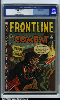 Frontline Combat #1 Gaines File pedigree 6/9 (EC, 1951). CGC NM+ 9.6 Off-white pages. Harvey Kurtzman and Wally Wood art...