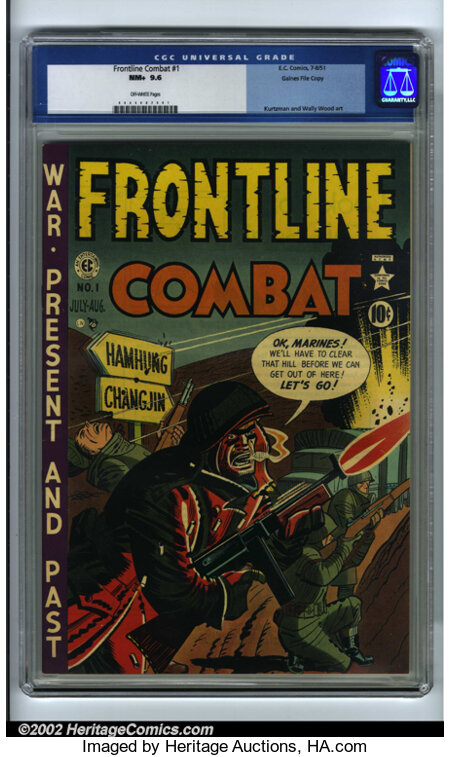 Frontline Combat #1 Gaines File pedigree 6/9 (EC, 1951). CGC NM+ 9.6 Off-white pages. Harvey Kurtzman and Wally Wood art. Ov...