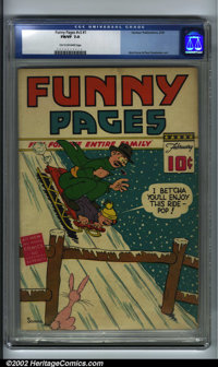 Funny Pages V3 #1 (Centaur, 1939). CGC FN/VF 7.0 Tan to off-white pages. Bob Kane and Paul Gustavson art. Bruce Wayne pr...