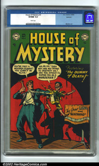 House of Mystery #3 Spokane pedigree (DC, 1952). CGC VF/NM 9.0 White pages. Overstreet 2001 NM 9.4 value = $600. Overstr...