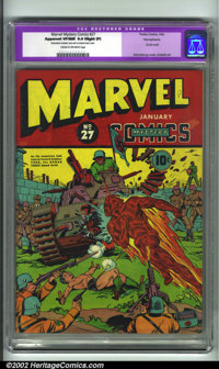 Marvel Mystery Comics #27 Pennsylvania pedigree (Timely, 1942). CGC Apparent VF/NM 9.0 Cream to off-white pages. Slight...