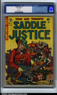 Saddle Justice #5 (EC, 1949). CGC VF- 7.5 Off-white pages. Graham Ingels cover and art. Overstreet 2001 FN 6.0 value = $...
