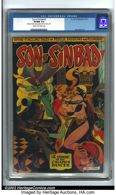 Son of Sinbad #1 (St. John, 1950). CGC VF/NM 9.0 Cream to off-white pages. Moderate transfer staining interior front and bac...