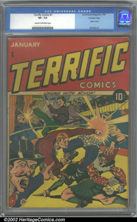 Terrific Comics #1 Crowley pedigree (Continental Magazines, 1944). CGC VF- 7.5 Cream to off-white pages. This is an extr...