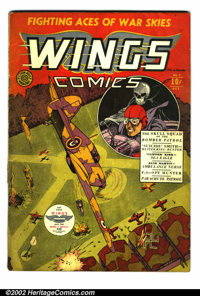 Wings Comics #2 (Fiction House, 1940). This comic is in G/VG condition, and has a few small pieces of tape inside the sp...