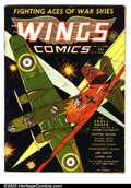 Golden Age (1938-1955):War, Wings Comics #6 (Fiction House, 1941). This comic is in VGcondition with a small amount of glue on the spine. Pages areoff...