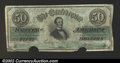 Confederate Notes:1862 Issues, 1862 $50 Black with green overprint; Jefferson Davis, T-50, VF,...