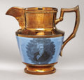 Political:3D & Other Display (pre-1896), Andrew Jackson: Superb Large Copper Lustre Pitcher with Much Rarer,Vivid Blue Background....