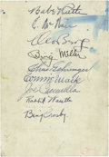 Autographs:Others, 1934 Tour of Japan Team Signed Sheet with Babe Ruth. The members of this most historic of foreign baseball tours were heade...
