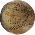 Autographs:Baseballs, Circa 1931 Babe Ruth, Lou Gehrig, Mickey Cochrane Signed Baseball. Presentational sphere from Christy Walsh, the first spor...