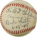 Autographs:Baseballs, 1948 Babe Ruth Single Signed Baseball. High-grade single dates from just two months before the Babe lost his battle to canc...