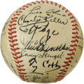 Autographs:Baseballs, 1949 World Series Signed Baseball with Campanella, Robinson &Ty Cobb. Exceptional array of Hall of Fame autographs is unli...