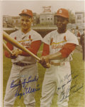 Autographs:Photos, Roger Maris & Lou Brock Signed Photograph. Charming colorportrait of these two diamond legends was almost certainlysnappe...