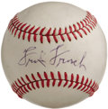 "Autographs:Baseballs, 1960's Frank Frisch Single Signed Baseball. ""The Fordham Flash,"" who helped direct both the New York Giants and the St. Lou..."