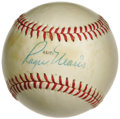 Autographs:Baseballs, 1970's Roger Maris Single Signed Baseball. The man who made the brave and torturous trip to sixty-one in '61 applies his 9/...