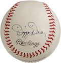 Autographs:Baseballs, 1960's Dizzy Dean Single Signed Baseball. Top quality single almostsurely derives from Ol Diz' radio days, as he was known...
