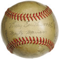 Autographs:Baseballs, 1942 St. Louis Cardinals Team Signed Baseball. A World Championshipseason, and the first full year in the Bigs for a twent...