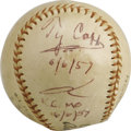 Autographs:Baseballs, 1957 Ty Cobb Single Signed Baseball. The seventy-one year oldterror of the Dead Ball Era has never looked better than he d...