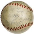 "Autographs:Baseballs, 1934 St. Louis Cardinals Team Signed Baseball. By most accounts,this World Championship club earned its ""Gashouse Gang"" mo..."