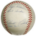 Autographs:Baseballs, 1967 St. Louis Cardinals Team Signed Baseball. The enablers of the Bambino's Curse, the '67 Cards teased the Boston Red Sox...