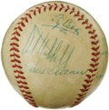 Autographs:Baseballs, Late 1950's Hall of Famers Multi-Signed Baseball with Cobb, Foxx,Speaker. A spectacular constellation of stars makes this ...