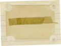 Autographs:Others, 1940's Babe Ruth Signed Blank Card. The conventional wisdom that an application of clear tape would help preserve an autogr...