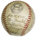 Autographs:Baseballs, 1942 New York Yankees Team Signed Baseball. Despite coming up short in the World Series this season, the 1942 Bombers' tota...