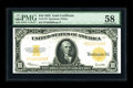 Large Size:Gold Certificates, Fr. 1173 $10 1922 Gold Certificate PMG Choice About Unc 58. Anexamination of the brightly printed back design reveals embos...