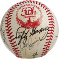 Autographs:Baseballs, 1933 All-Star Reunion Team Signed Baseball. A half century afterComiskey Park hosted the first Midsummer Classic in an att...