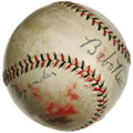 Autographs:Baseballs, Late 1920's Babe Ruth & Grover Cleveland Alexander Signed Baseball. Important orb almost assuredly saw action at Sportsman'...