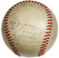 Autographs:Baseballs, 1940 New York Yankees Team Signed Baseball. Though the Yanks foundthemselves in the rare role of spectators for the 1940 W...