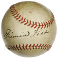 Autographs:Baseballs, 1930's Jimmie Foxx Signed Baseball. A bold, playing-days sweet spotsignature from the second man to summit the 500 home ru...