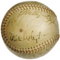 "Autographs:Baseballs, 1947 Babe Ruth Day Signed Baseball with Ruth, DiMaggio. Thelegendary Bambino saw his number ""3"" retired from pinstriped op..."