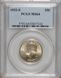 Washington Quarters: , 1932-S 25C MS64 PCGS. A thin veneer of champagne-gold color restsupon radiantly lustrous surfaces. Sharply struck on the d...