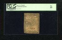 Continental Currency February 17, 1776 $2/3 PCGS Fine 15. This boldly signed and numbered Fugio fractional note is well...