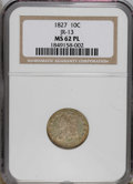 Bust Dimes: , 1827 10C MS62 Prooflike NGC. JR-13, R.3. This brightly mirroredpiece has pale olive fields and orange-gold peripheries. Un...