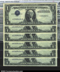 Error Notes:Inverted Third Printings, Fr. 1613 $1 1935D Silver Certificates. Cut Half Sheet of Six....