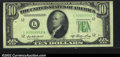 Error Notes:Skewed Reverse Printing, Fr. 2011-L $10 1950A Federal Reserve Note. CGA Very Fine 30....