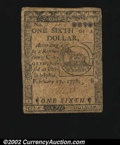 Colonial Notes:Continental Congress Issues, Contiental Currency February 17, 1776 $1/6 About Very Fine....