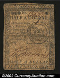 Colonial Notes:Continental Congress Issues, Contiental Currency February 17, 1776 $1/2 Fine. An ...