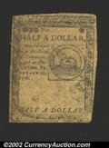 Colonial Notes:Continental Congress Issues, Continental Currency February 17, 1776 $1/2 Fine. A decent ...
