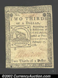 Colonial Notes:Continental Congress Issues, Continental Currency February 17, 1776 $2/3 About New. The ...